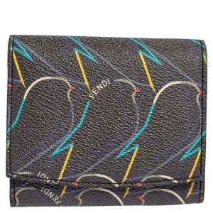 Fendi Multicolor Ellite Birds Print Coated Canvas Flap Compact Wallet