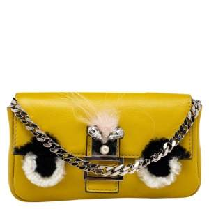 Fendi Yellow Leather and Fur Micro Monster Baguette
