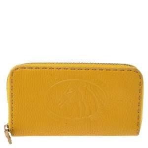 Fendi Yellow Leather Selleria Zip Around Wallet