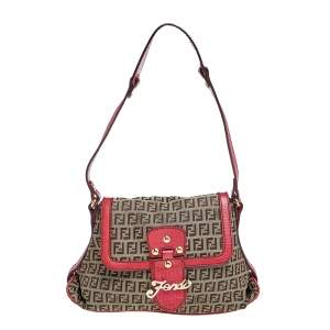 Fendi Brown Tobacco Zucchino Canvas And Leather  Shoulder Bag