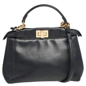 Fendi Black Leather Mini Peekaboo Top Handle Bag