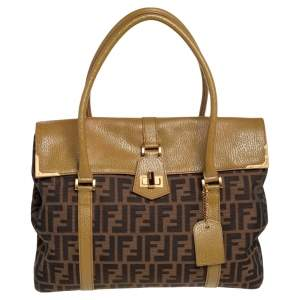 Fendi Tobacco/Green Zucca Canvas and Textured Leather Large Linda Satchel