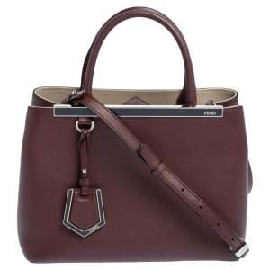 Fendi Burgundy Leather Mini 2jours Tote