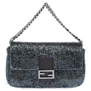 Fendi Dark Grey/Black Beads and Leather Micro Baguette Bag