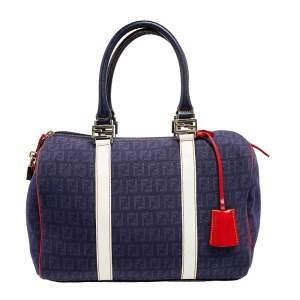 Fendi Multicolor Zucchino Canvas and Patent Leather Forever Bauletto Boston Bag