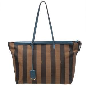 Fendi Tobacco/Blue Pequin Canvas and Leather Roll Tote