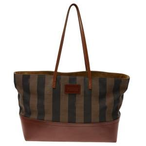 Fendi Tobacco/Brown Pequin Striped Canvas and Leather Roll Tote