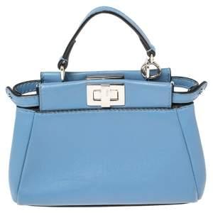 Fendi Sky Blue Leather Micro Peekaboo Crossbody Bag