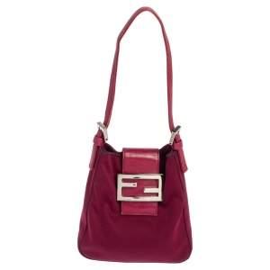 Fendi Burgundy Satin and Leather Trim Micro Mama Baguette