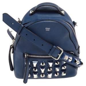 Fendi Blue Leather Backpack Studded Shoulder Bag