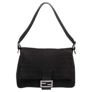 Fendi Black Zucchino Mama Forever Baguette Shoulder Bag