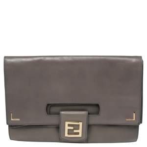 Fendi Grey Leather Foldover Clutch