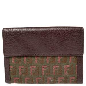 Fendi Tri Color Zuchino Canvas and Leather French Wallet