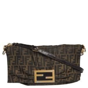 Fendi Tobacco Zuccca Canvas Mia Flap Shoulder Bag
