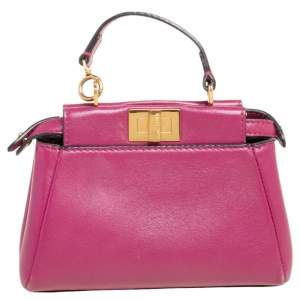 Fendi Fuchsia Leather Micro Peekaboo Crossbody Bag