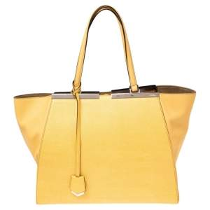 Fendi Yellow Leather Large 3Jours Tote