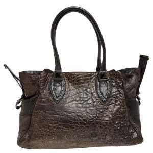 Fendi Dark Brown Leather De Jour Media Crisp Satchel