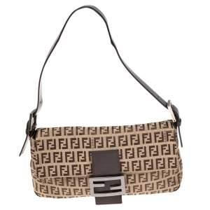 Fendi Beige/Brown Zucchino Canvas and Leather Baguette Flap Bag