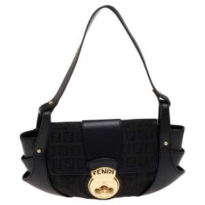 Fendi Black Canvas And Leather Borsa Shoulder Bag