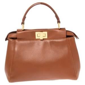Fendi Tan Leather Mini Peekaboo Top Handle Bag