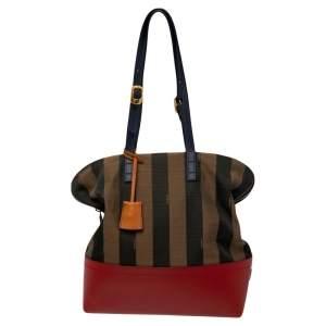 Fendi Multicolor Pequin Striped Canvas And Leather Bag