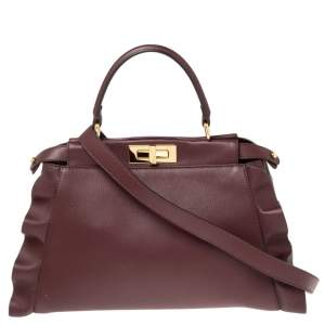 Fendi Burgundy Leather Medium Peekaboo Ruffle Top Handle Bag