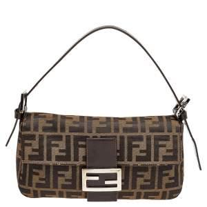 Fendi Brown Zucca Canvas Mamma Baguette Bag