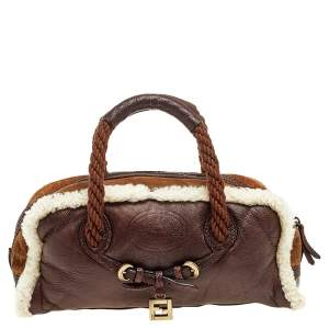 Fendi Tri Color Leather and Shearling Rope Handle Satchel