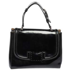 Fendi Black Patent Leather Silvana Top Handle Bag