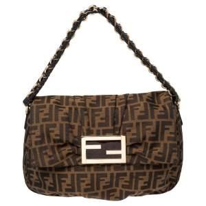 Fendi Tobacco Zucca Canvas and Patent Leather Mia Flap Shoulder Bag