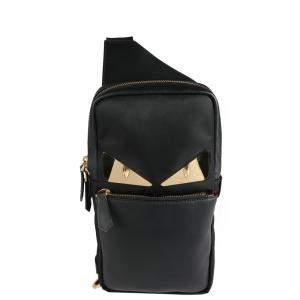 Fendi Black Bugs Nylon One-Shoulder Backpack