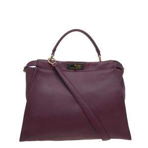 Fendi Burgundy Leather Large Peekaboo Top Handle Bag