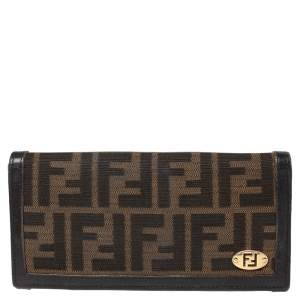 Fendi Tobacco Zucca Canvas and Leather Flap Continental Wallet
