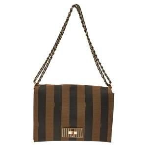 Fendi Tobacco Canvas Pequin Stripe Claudia Shoulder Bag