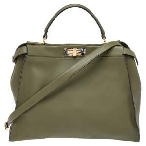 Fendi Green Leather Peekaboo Top Handle Bag
