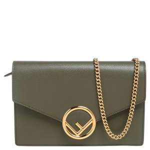 Fendi Olive Green Leather F Wallet On Chain