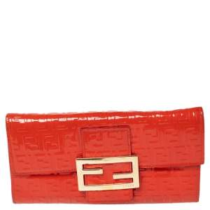 Fendi Orange Zucchino Patent Leather Continental Wallet
