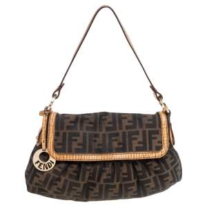 Fendi Tobacco Zucca Canvas and Textured Leather Chef Shoulder Bag