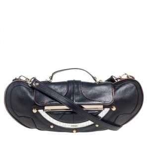 Fendi Black Leather Vanity Shoulder Bag