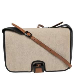 Fendi Black/Off White Leather and Textured Fabric Chameleon Shoulder Bag