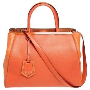 Fendi Two Tone Orange Leather Medium 2Jours Tote