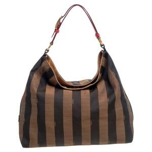 Fendi Tobacco/Red Pequin Striped Canvas and Leather Large Hobo