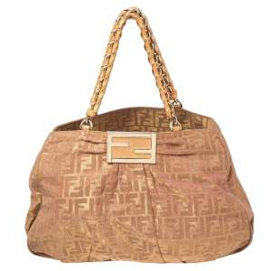 Fendi Gold/Brown Zucca Shimmer Canvas Large Mia Shoulder Bag