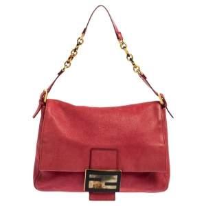 Fendi Burgundy Leather Mama Baguette Shoulder Bag