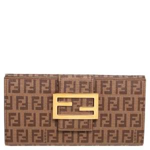 Fendi Brown Zucchino Coated Canvas Forever Continental Wallet