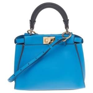 حقيبة ميني فندي بيكابو جلد أزرق ثنائي اللون بيد علوية