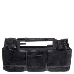 Fendi Black Mesh And Patent Leather Cutout Handle Clutch