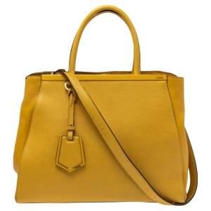 Fendi Yellow Leather Medium 2Jours Tote
