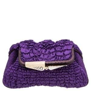 Fendi Purple Satin Borderline Clutch