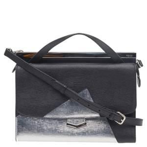 Fendi Black/Metallic Silver Textured Leather Small Demi Jour Top Handle Bag